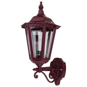 Outdoor Period Wall Light - 240V B22 IP43 510mm Burgundy Up Facing Made in Italy