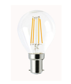 B15 LED Filament Globe - 4W 400lm IP20 6000K 78mm Clear Dimmable
