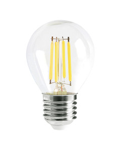 E27 LED Filament Globe - 4W 400lm IP20 6000K 73mm Clear Dimmable