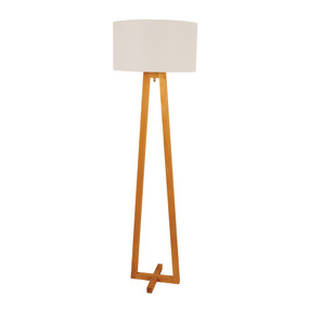 Floor Lamp - 60W E27 1500mm Timber and White