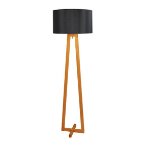 Floor Lamp - 60W E27 1500mm Timber and Black