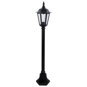 Post Light or Bollard Light - 240V B22 IP43 1315mm Black Made In Italy