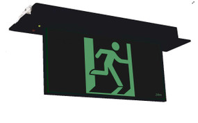 Emergency Exit Sign - Industrial Strength LED 2W 24m Recessed 2 Hours Black Blade