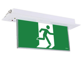 Emergency Exit Sign - Industrial Strength LED 2W 24m Recessed 2 Hours Green Blade