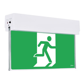 Emergency Exit Sign - Industrial Strength LED 2W 24m Surface Mounted 2 Hours Green Blade