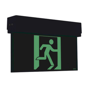 Emergency Exit Sign - Industrial Strength LED 2W 24m Surface Mounted 2 Hours Black Blade