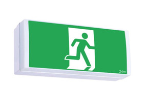 Emergency Exit Sign - Industrial Strength Wall Mounted Wide Base LED 2W 24m 2 Hours Green