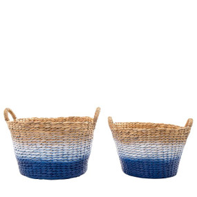 Baskets - Set of Two Blue White and Natural