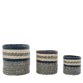 Baskets - Set of Three Blue and Natural