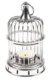 Candle Holder - Bird Cage Shiny Nickel