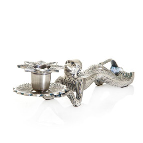 Candle Holder - Animal Styled In Antique Silver