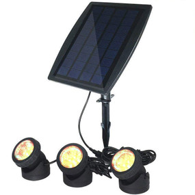 Solar Ground or Wall Spotlight Kit - 3 Lights IP68 4000K Adjustable