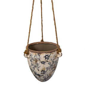 Hanging Planter With Blue Pattern
