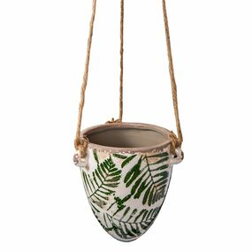 Hanging Planter With Green Pattern