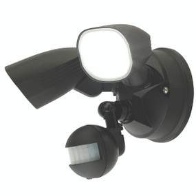 Smart Twin Security Light With Sensor - 22W 2200lm IP44 Tri Colour 260mm Black