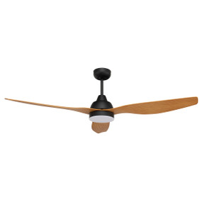 Smart Ceiling Fan With Light and Remote - 132cm 52in 32W Matte Black and Maple 5 Speed