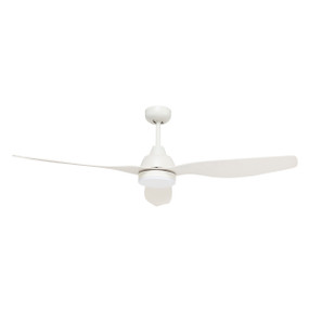 Smart Ceiling Fan With Light and Remote - 132cm 52in 32W White 5 Speed
