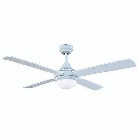 Ceiling Fan With Light and Remote - 132cm 52in 65W White 3 Speed
