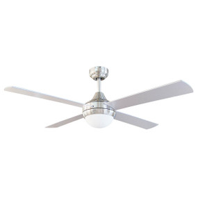 Ceiling Fan With Light - 132cm 52in 65W Brushed Chrome 3 Speed