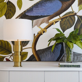 Table Lamp - B22 40W 600mm Brass and White