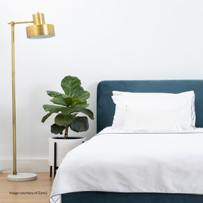 Floor Lamp - B22 40W 1575mm Brushed Brass and White