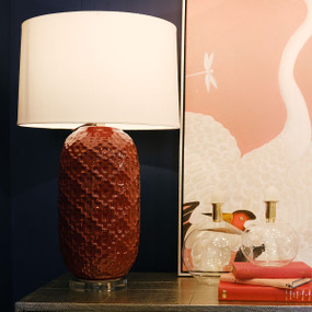 Table Lamp - B22 40W 740mm Burgundy and White