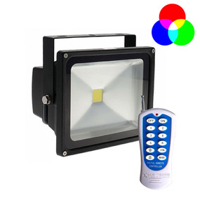Solar Flood Light RGB With Remote - 30W 2250lm IP65 RGB 380mm Commercial Grade