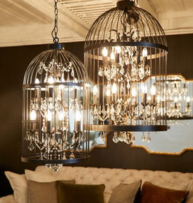 Chandelier - Bird Cage E14 300W 980mm 12 Arms Antique Black
