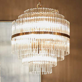 Chandelier - E14 520W 700mm Clear and Brass