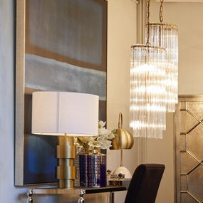 Pendant Light - E14 240W 690mm Brass and Clear