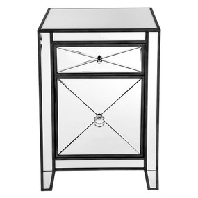 Mirrored Bedside Table - Black APL