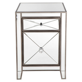 Mirrored Bedside Table - Antique Silver APL