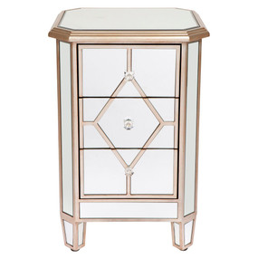 Mirrored Bedside Table - Antique Gold KNS