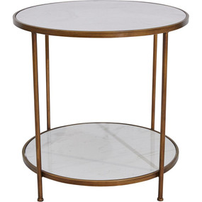 Side Table - White and Antique Gold CMR