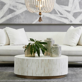 Coffee Table - White Bone Inlay and Gold MKY