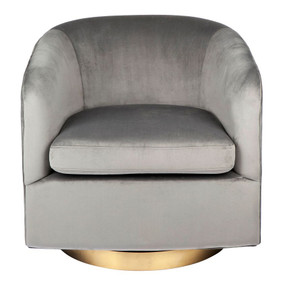 Swivel Arm Chair - Charcoal and Antique Brass BLV