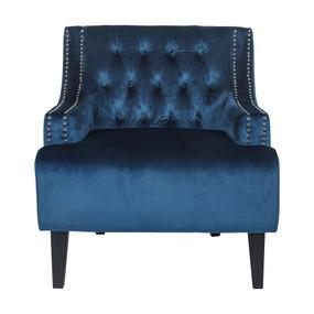 Arm Chair - Navy Velvet and Black SKL