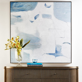 Painting - White, Blue and Antique Silver FDD
