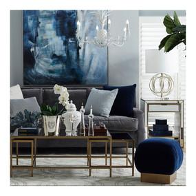 Painting - Dark Blue, Navy Blue, White, Grey and Antique Silver SCH