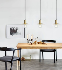 Pendant Light - 72W E27 220mm Amber Glass and Antique Brass