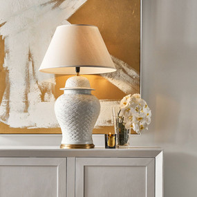Table Lamp - E27 40W 970mm White and Brass