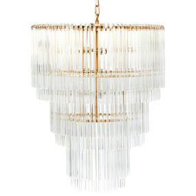 Pendant Light - E27 250W 800mm Clear and Brass