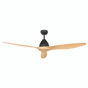 Ceiling Fan With Remote - 142cm 56in 40W Black and Oak 5 Speed