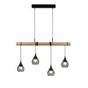 Melki Pendant Light - E27 240W 900mm Black and Timber