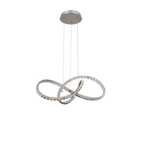 Pendant Light - 31W 1300lm 3000K 580mm Chrome and Clear