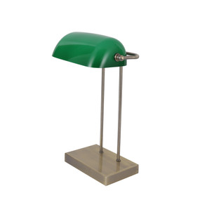 Desk Lamp - E14 40W 420mm Antique Brass and Green