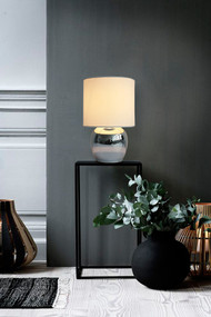 Table Lamp - E14 40W 290mm White and Chrome