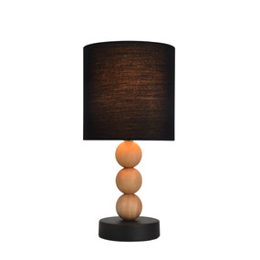 Table Lamp - E14 40W 310mm Black and Timber