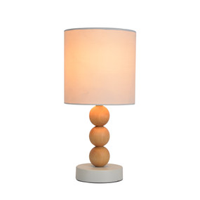 Table Lamp - E14 40W 310mm White and Timber