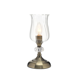 Table Lamp - E14 40W 280mm Antique Brass and Clear